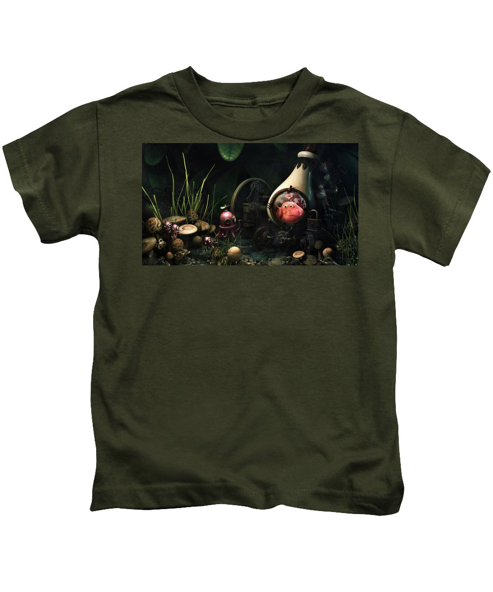 Alien Kids T-Shirt featuring the digital art Alien by Dorothy Binder