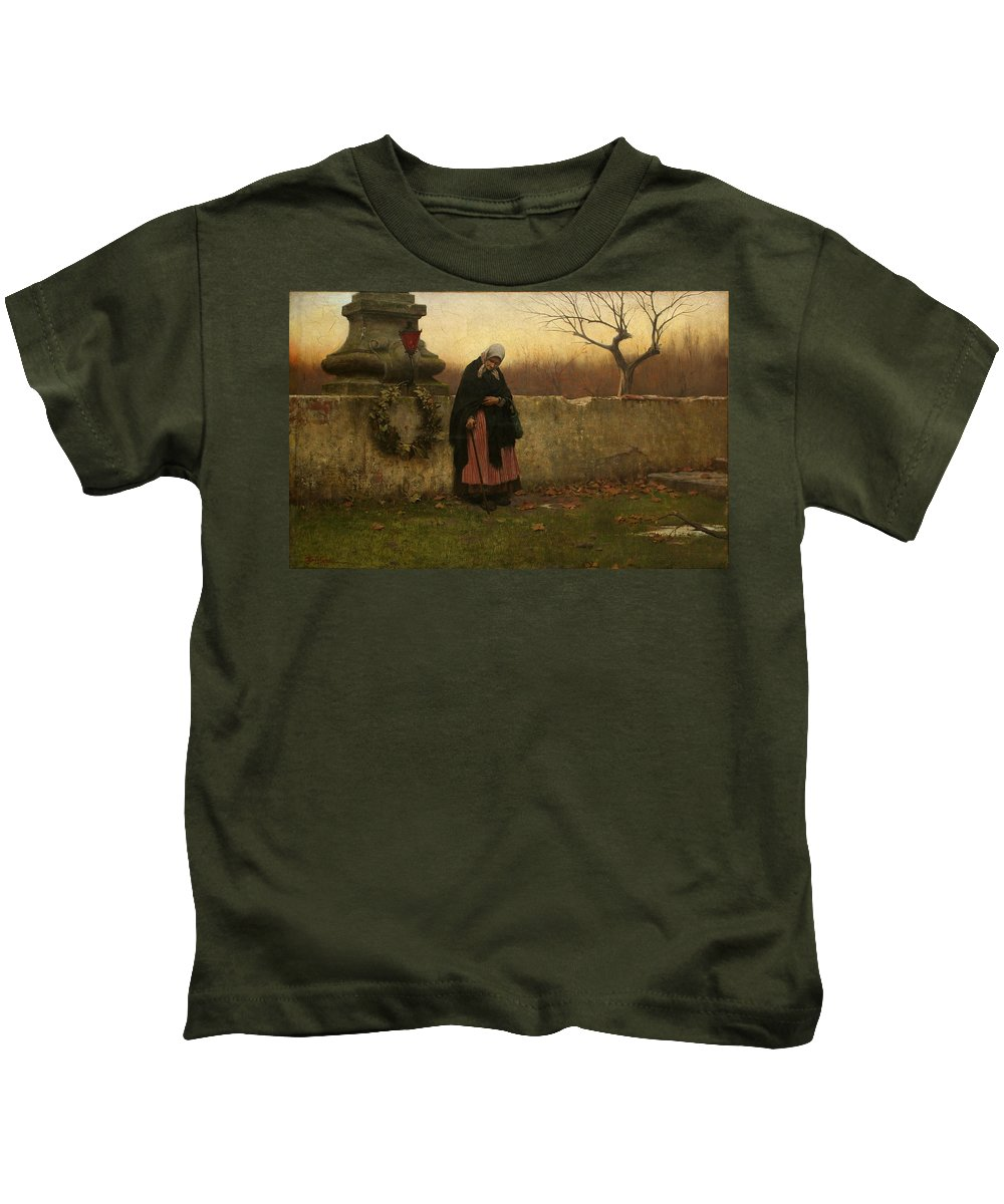 Jakub Schikaneder Kids T-Shirt featuring the painting All Souls Day by MotionAge Designs
