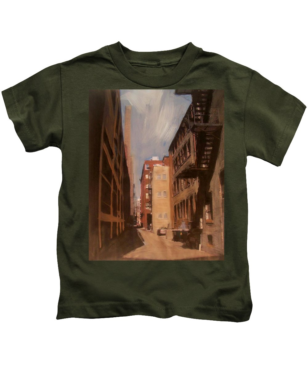 Alley Kids T-Shirt featuring the mixed media Alley Series 1 by Anita Burgermeister