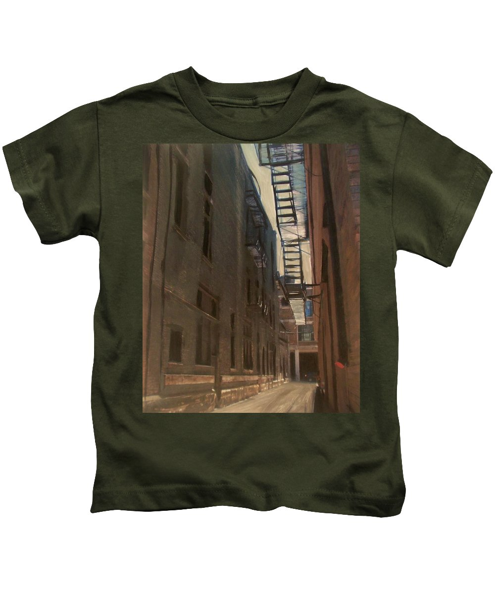 Alley Kids T-Shirt featuring the painting Alley Series 5 by Anita Burgermeister