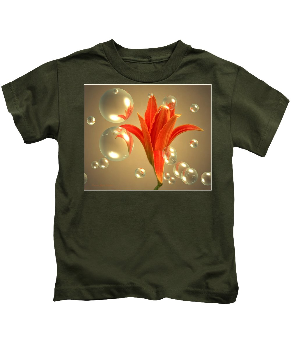 Lily Kids T-Shirt featuring the photograph Almost A Blossom In Bubbles by Joyce Dickens