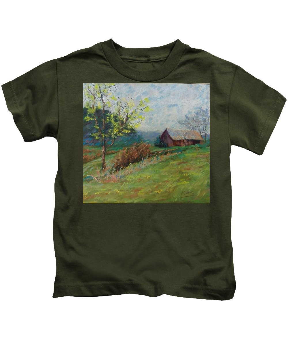 Landscape Kids T-Shirt featuring the pastel Almost Spring by Pat Snook
