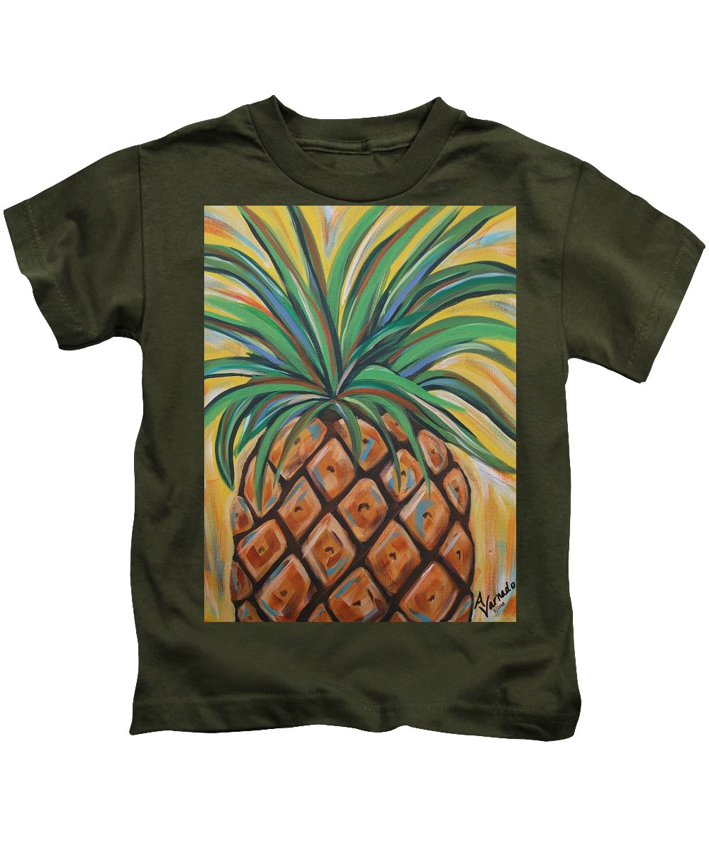 Aloha Kids T-Shirt featuring the painting Aloha by Angela Miles Varnado