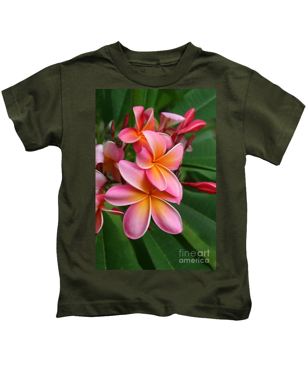 Pink Plumeria Kids T-Shirt featuring the photograph Aloha Lei Pua Melia Keanae by Sharon Mau