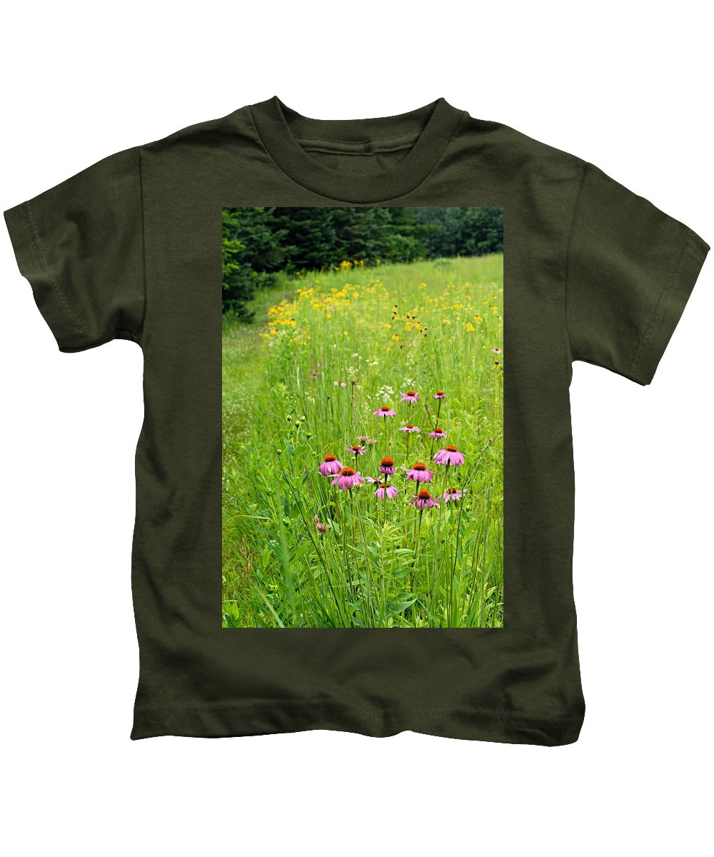 Photography Kids T-Shirt featuring the photograph Along A Prairie Path by Larry Ricker