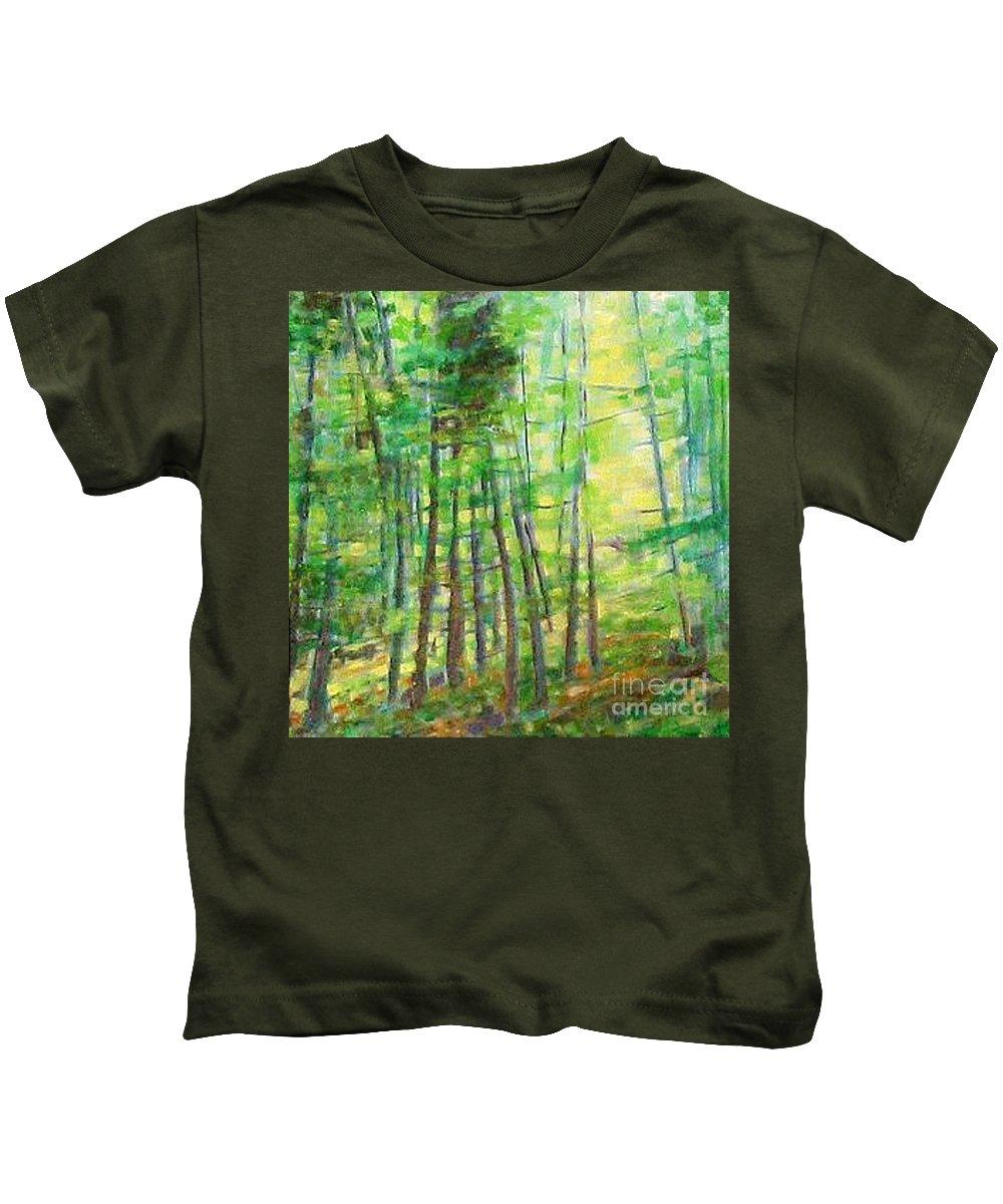 Landscape Kids T-Shirt featuring the painting Along Buckslide Road by Karen Sloan