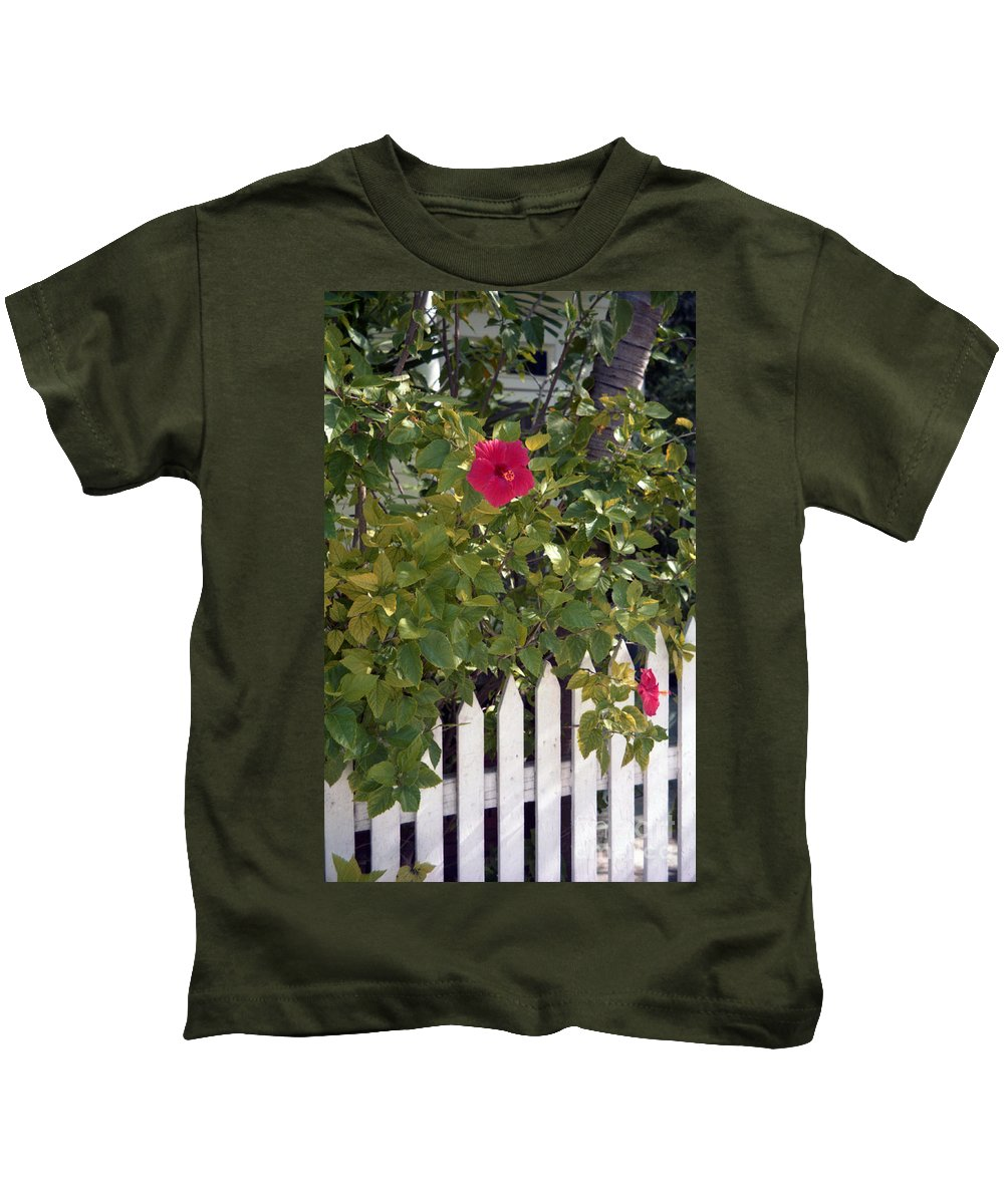 Azelea Kids T-Shirt featuring the photograph Along The Picket Fence by Richard Rizzo