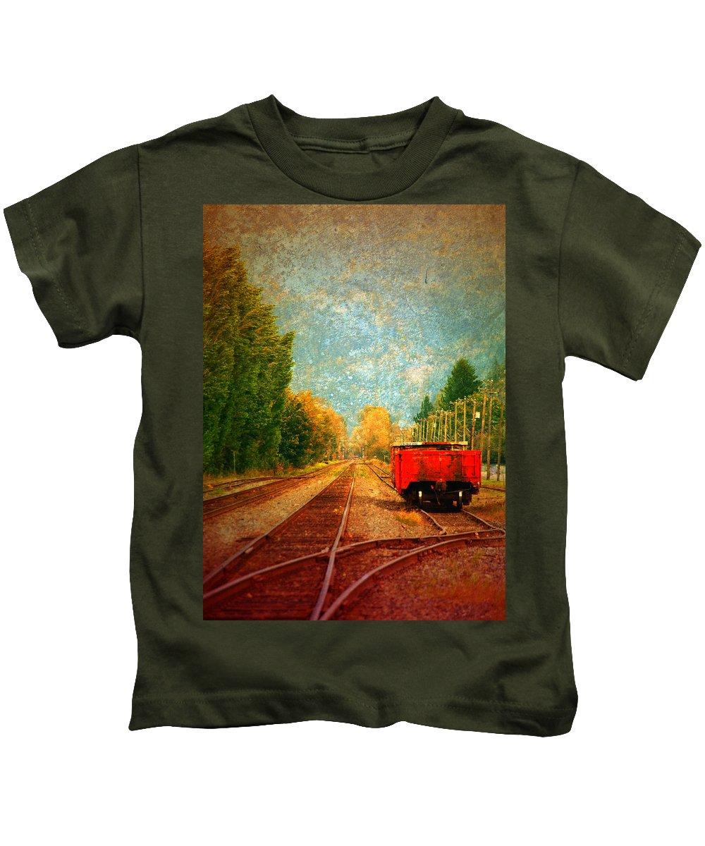 Railway Tracks Kids T-Shirt featuring the photograph Along The Tracks by Tara Turner