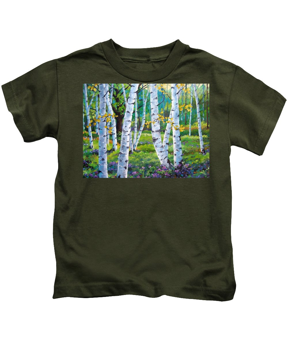 Birche; Birches; Tree; Trees; Nature; Landscape; Landscapes Scenic; Richard T. Pranke; Canadian Artist Painter Kids T-Shirt featuring the painting Alpine Flowers And Birches by Richard T Pranke