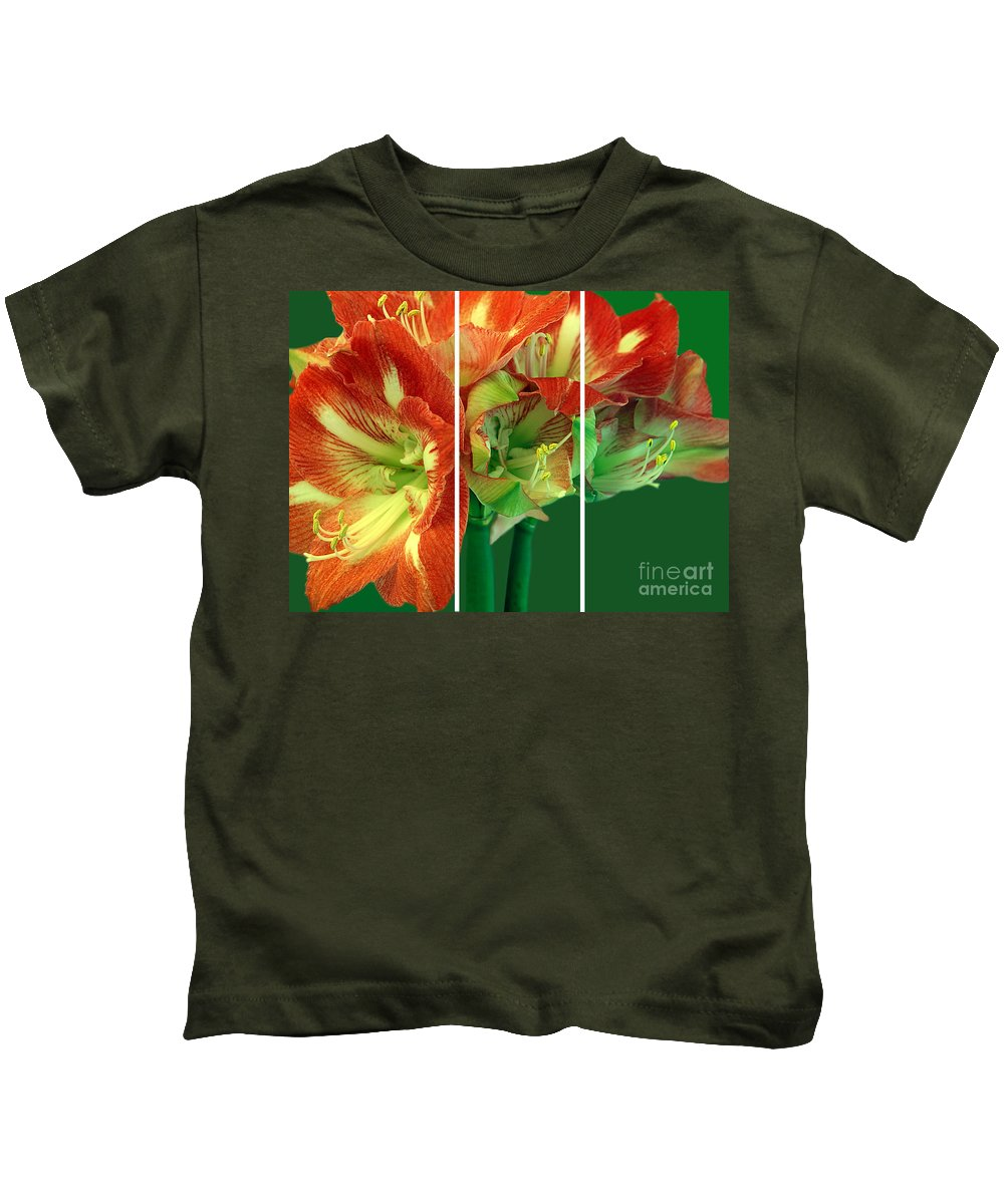 Amaryllis Kids T-Shirt featuring the photograph Amaryllis Triptych by Madeline Ellis