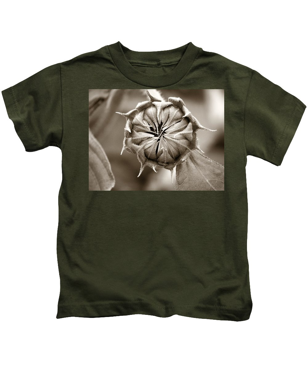 Sunflower Kids T-Shirt featuring the photograph Amazing Sunflower Bud by Marilyn Hunt