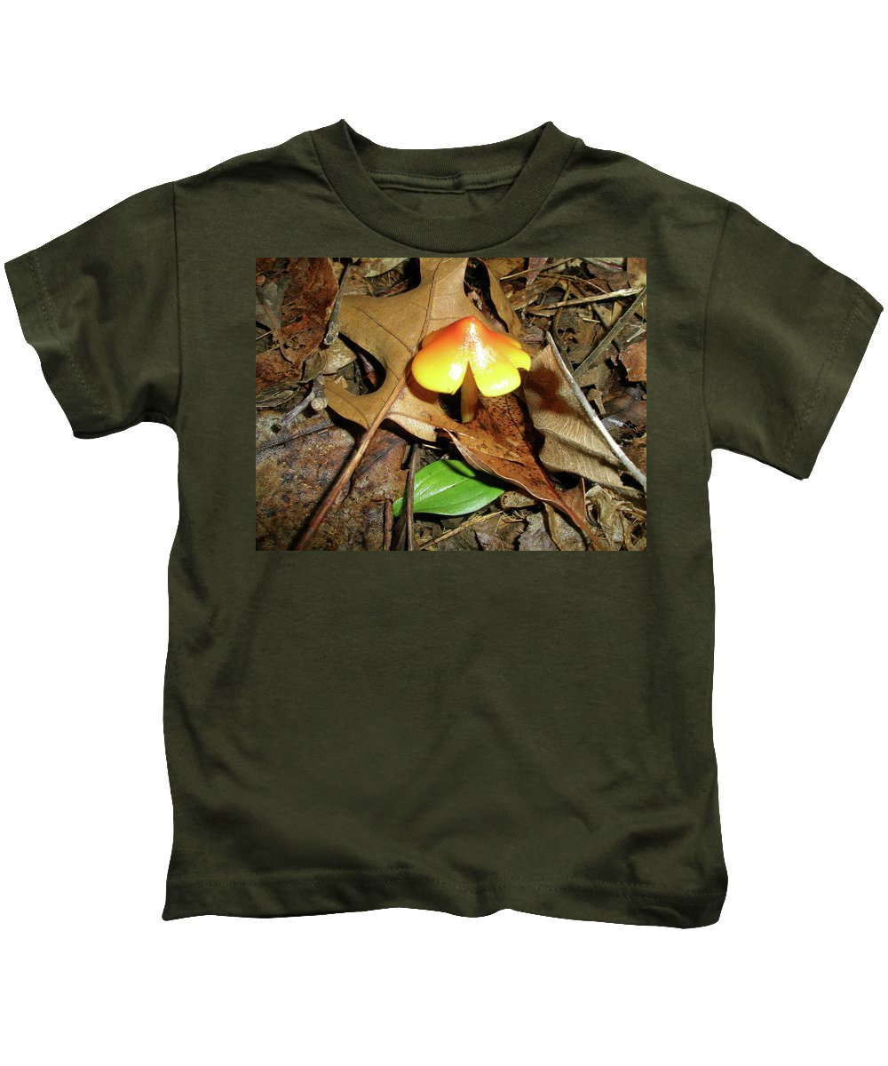 Mushroom Kids T-Shirt featuring the photograph Amberina Mushroom - Tiny Jewel In The Forest by Mother Nature