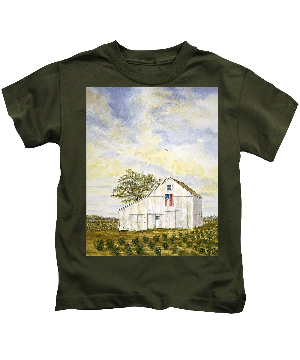 Kids T-Shirt featuring the painting American Barn by Tony Scarmato