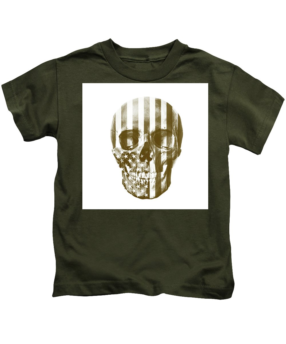 Skull Kids T-Shirt featuring the mixed media American Skull Beige by Del Art
