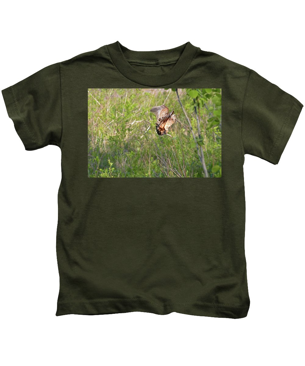 American Woodcock Kids T-Shirt featuring the photograph American Woodcock Behavior by Asbed Iskedjian