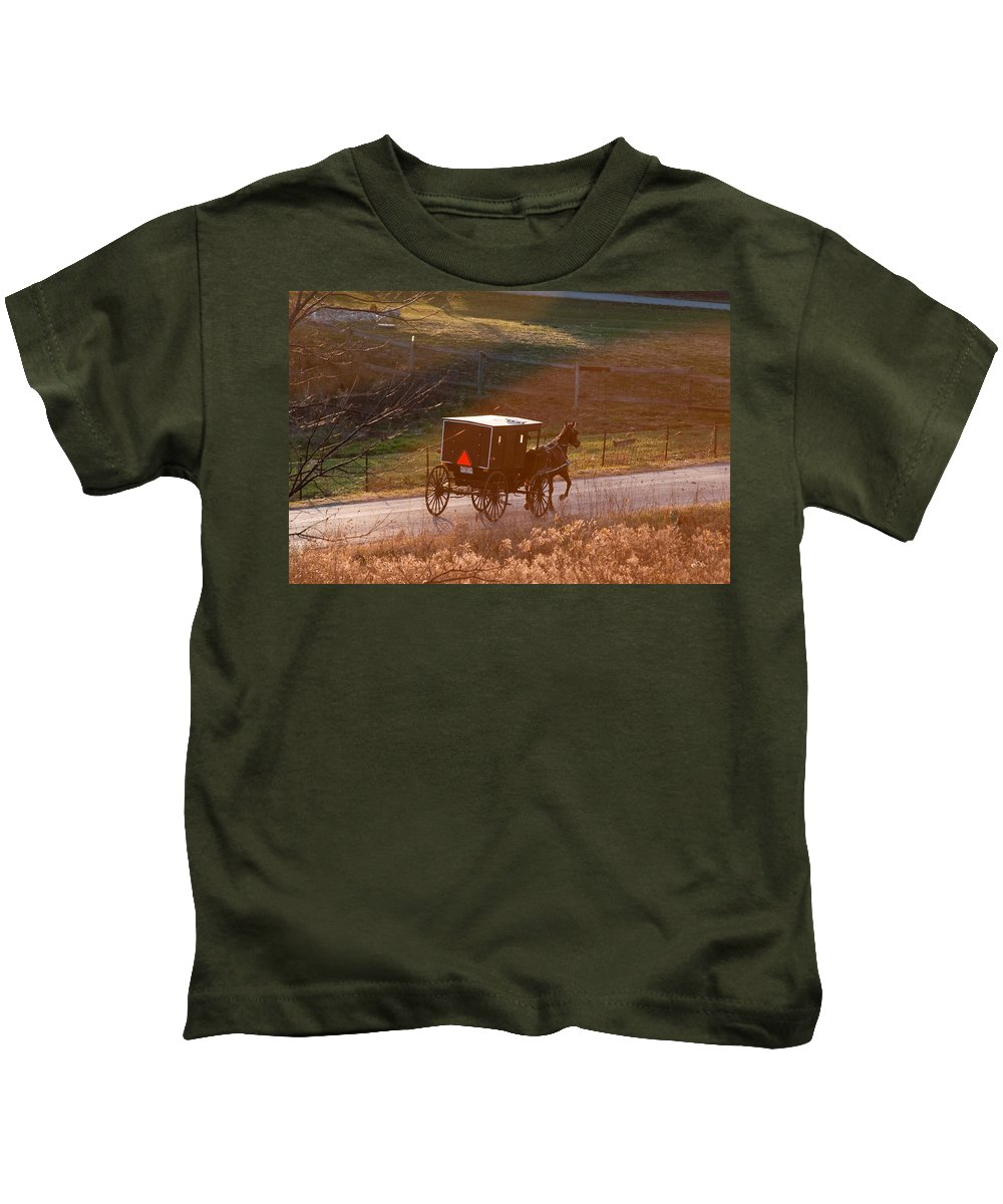 Amish Kids T-Shirt featuring the photograph Amish Buggy Afternoon Sun by David Arment