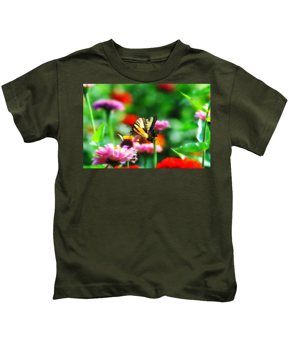 Butterfly Kids T-Shirt featuring the photograph Amongst The Flowers by Bill Cannon