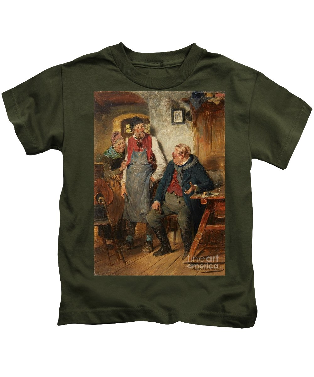 Hugo Kauffmann Kids T-Shirt featuring the painting An Interior Scene by MotionAge Designs
