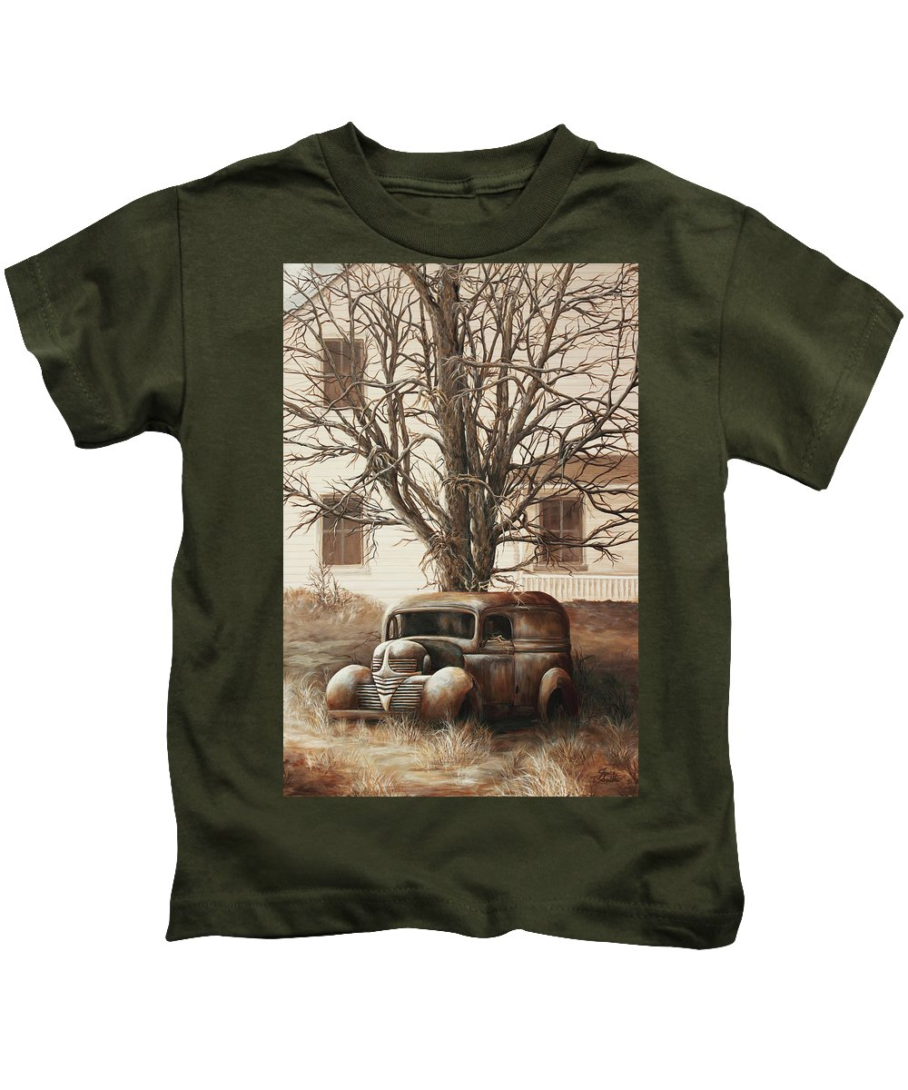 Unusual Kids T-Shirt featuring the painting An Unusual Delivery by Janice Smith