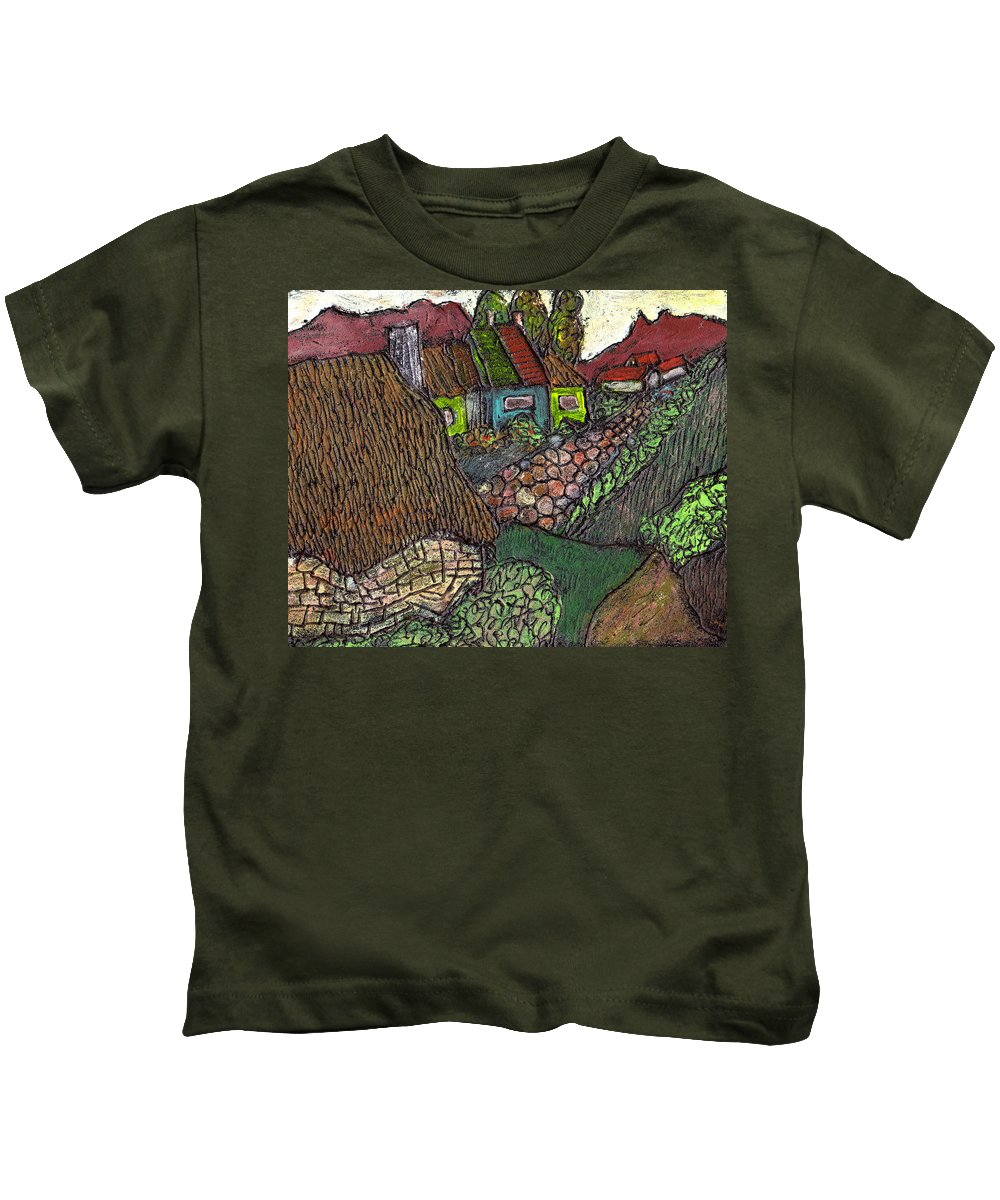 Ancient Village Kids T-Shirt featuring the painting Ancient Village by Wayne Potrafka