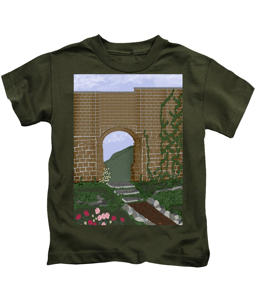 Irish Ruins Kids T-Shirt featuring the painting Ancient Walls by Anne Norskog