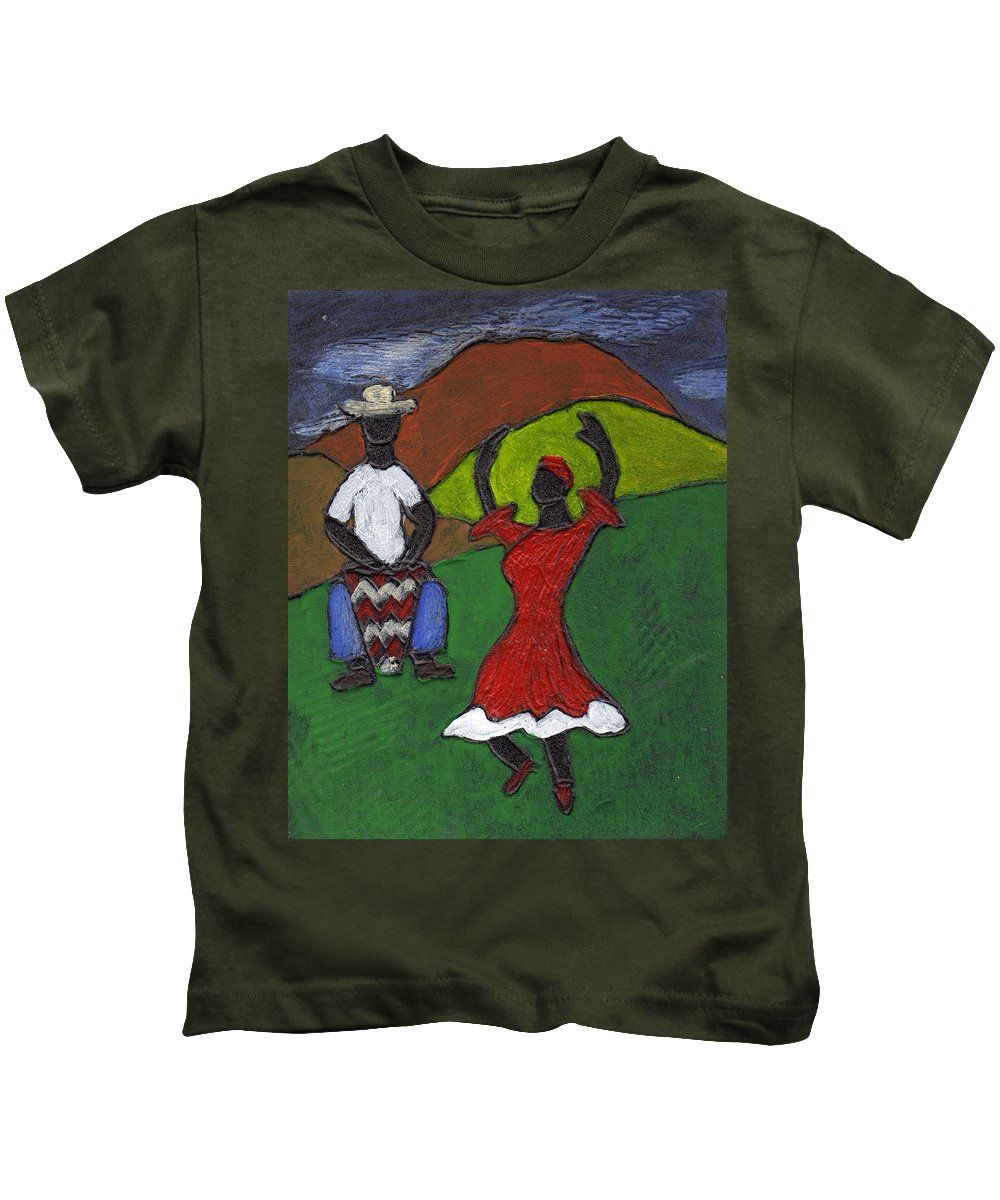 Dance Kids T-Shirt featuring the painting and Then She began to Dance by Wayne Potrafka