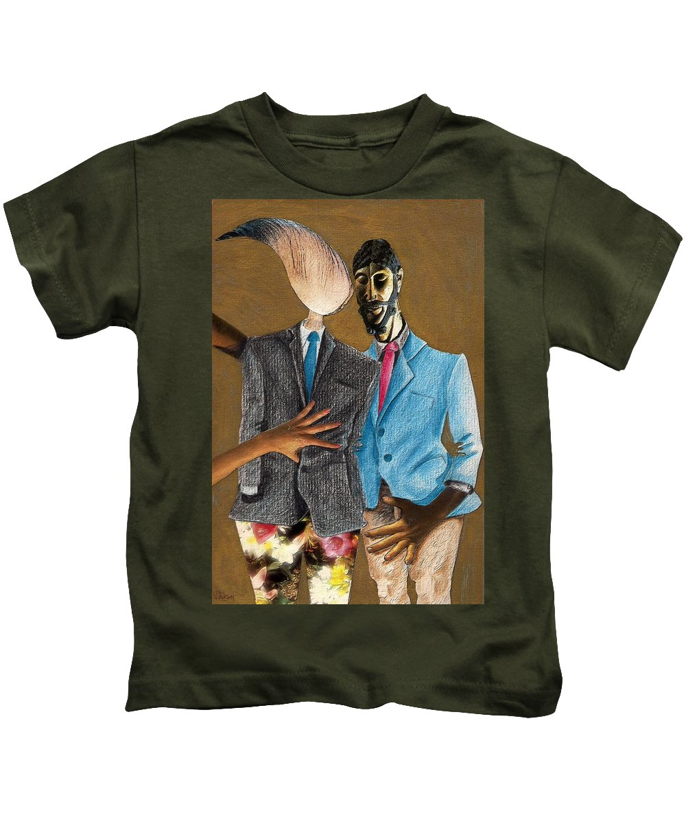 Sex Gay Androginality Couple Love Relation Kids T-Shirt featuring the mixed media Androginality by Veronica Jackson