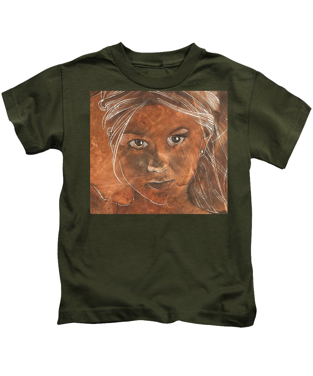 Nude Kids T-Shirt featuring the painting Angel In Process Head Detail by Richard Hoedl