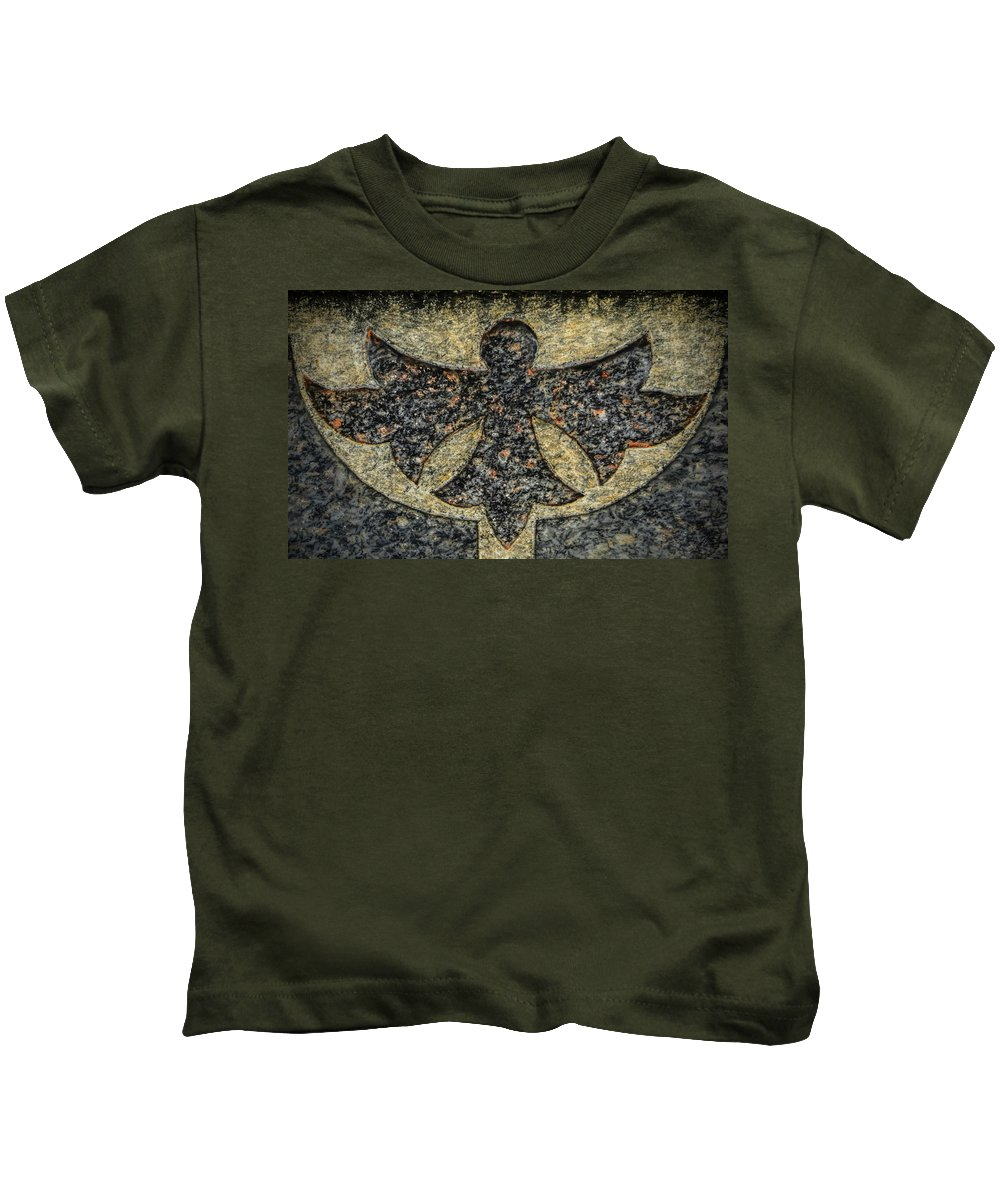 Cemeteries Kids T-Shirt featuring the photograph Angel In Stone by Thomas Fields