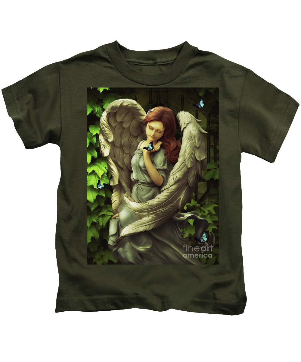 Angel Fantasy Leaves Wings Butterflies Spiritual Kids T-Shirt featuring the digital art Angel Oriphiel by Babette Van den Berg