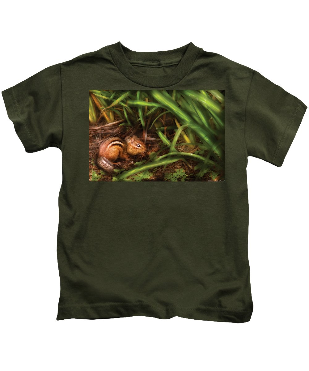 Savad Kids T-Shirt featuring the photograph Animal - Wild - Cute Little Chipmunk by Mike Savad