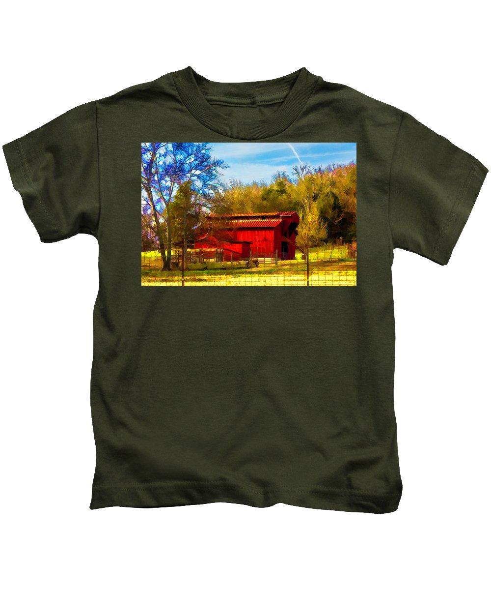 Barn Kids T-Shirt featuring the digital art Animal Farm Painting by Lorraine Baum