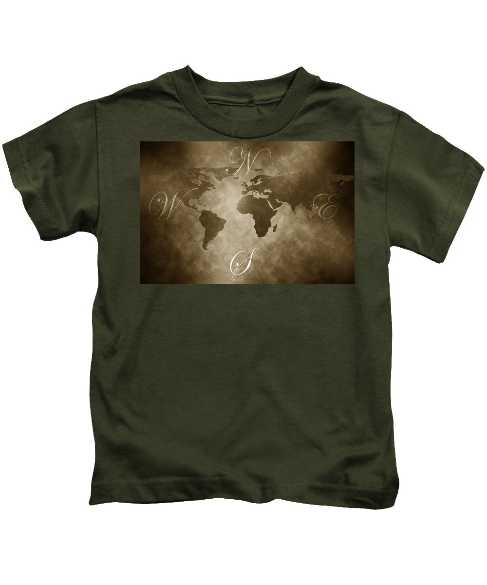 Compass Kids T-Shirt featuring the digital art Antique World Map by Phill Petrovic