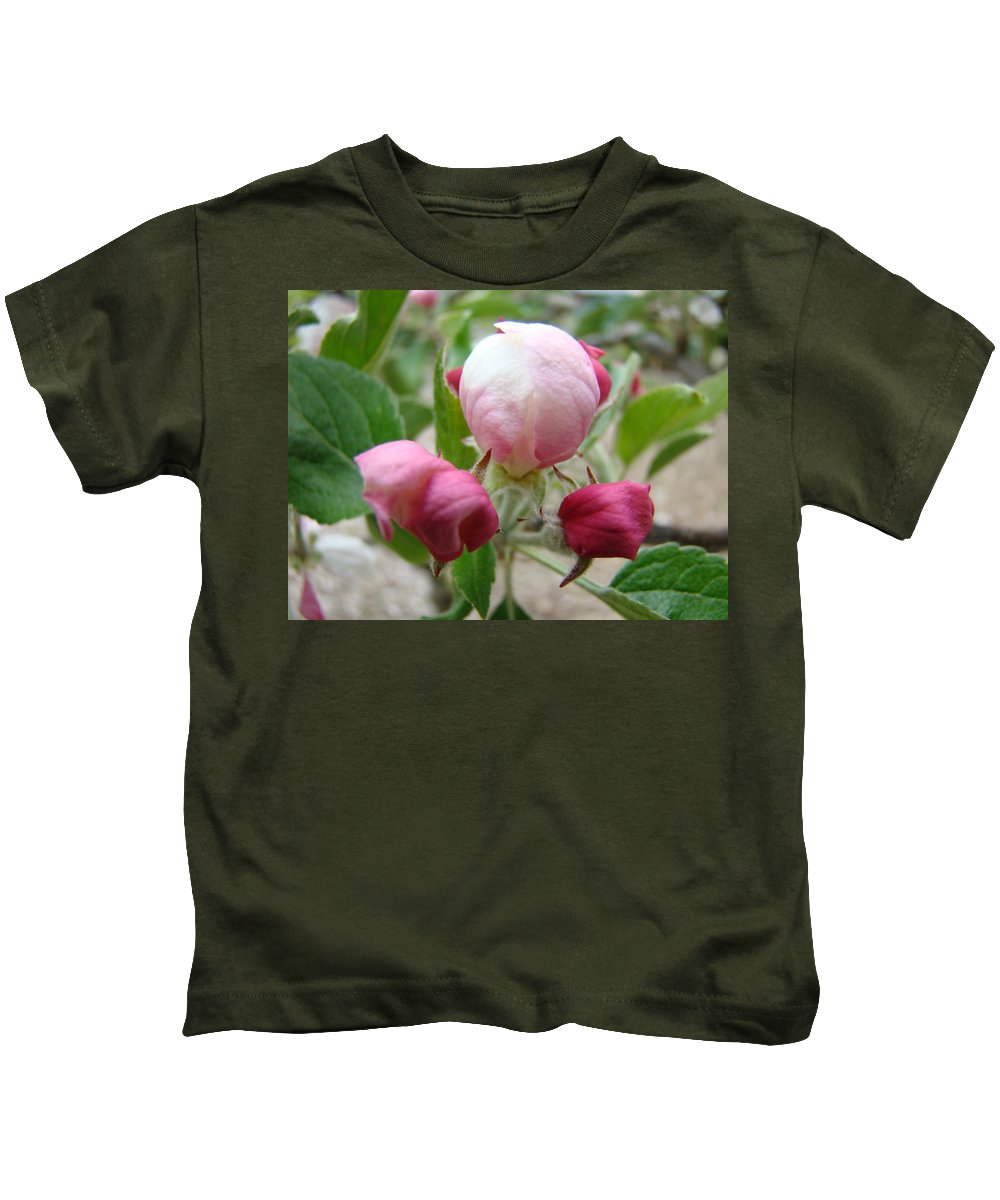 Apple Kids T-Shirt featuring the photograph Apple Blossom Buds Art Prints Spring Baslee Troutman by Baslee Troutman