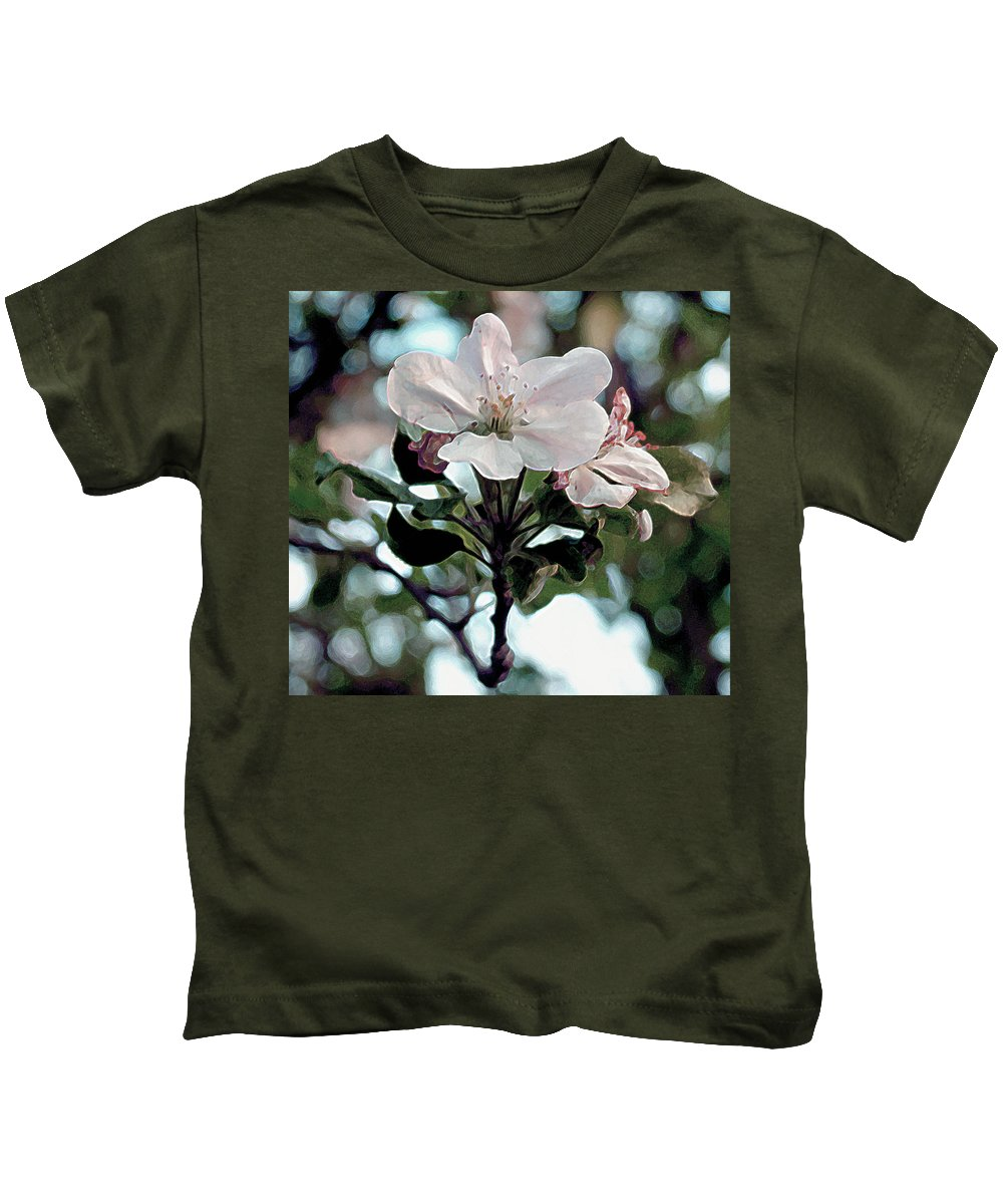 Blossom Kids T-Shirt featuring the painting Apple Blossom Time by RC deWinter