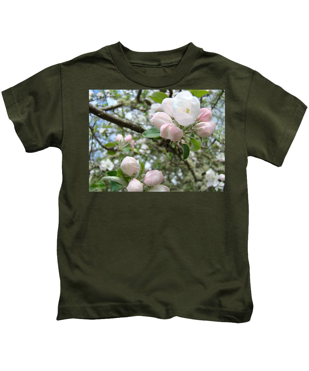 Apple Kids T-Shirt featuring the photograph Apple Tree Blossoms Art Prints Apple Blossom Buds Baslee Troutman by Baslee Troutman