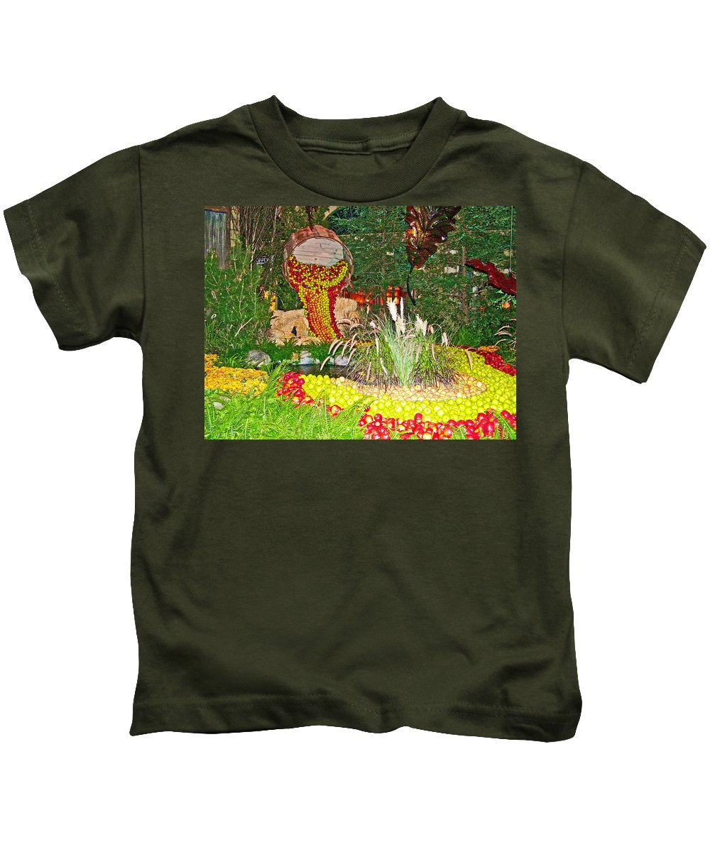 Apples In Autumn In Bellagio Conservatory In Las Vegas Kids T-Shirt featuring the photograph Apples In Autumn In Bellagio Conservatory In Las Vegas- Nevada by Ruth Hager