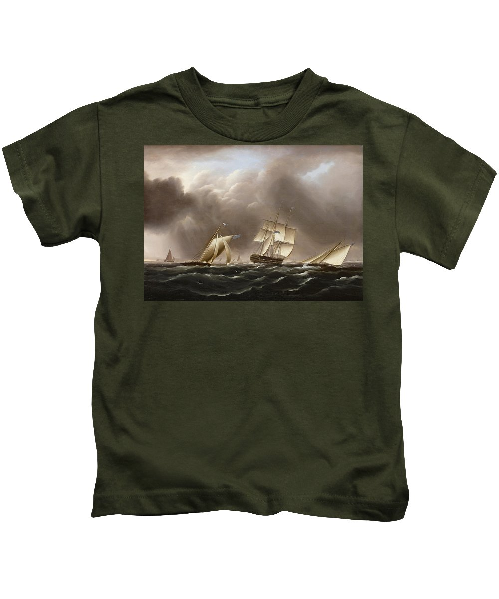 James Edward Buttersworth Kids T-Shirt featuring the painting Approaching Squall by James Edward Buttersworth