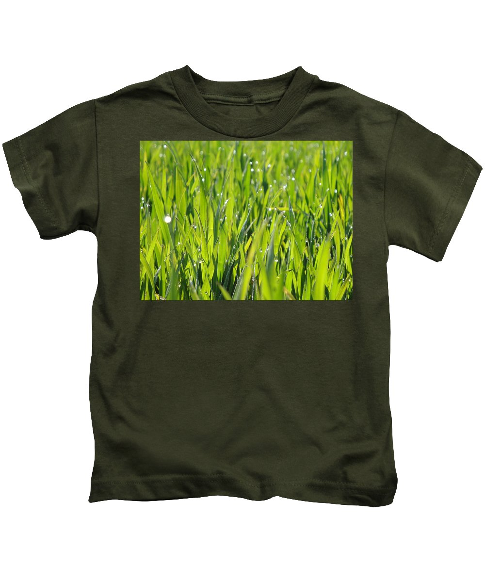 Dew Kids T-Shirt featuring the photograph April Dewdrop Fairylights by Susan Baker