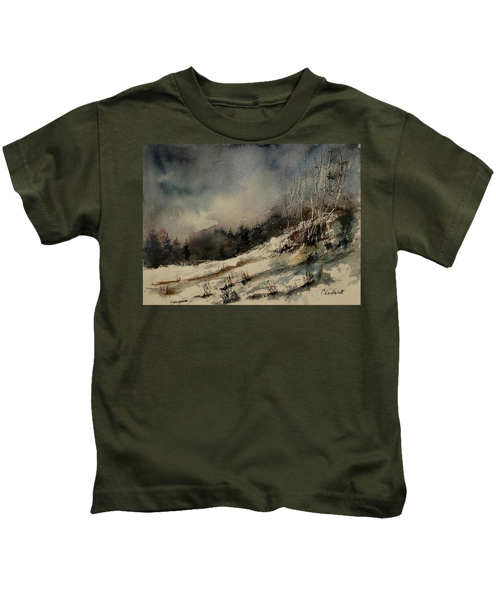 Winter Kids T-Shirt featuring the painting Aqua 051207 by Pol Ledent
