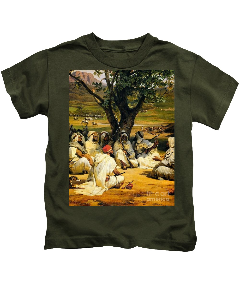 Horace Vernet - Arab Chieftains In Council (the Negotiator) 1836 Kids T-Shirt featuring the painting Arab Chieftains In Council by MotionAge Designs