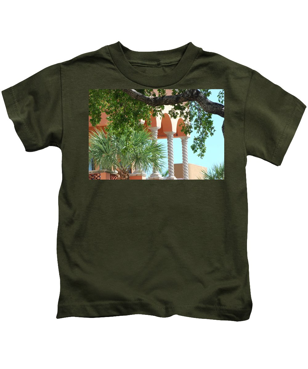 Architecture Kids T-Shirt featuring the photograph Arches Thru The Trees by Rob Hans