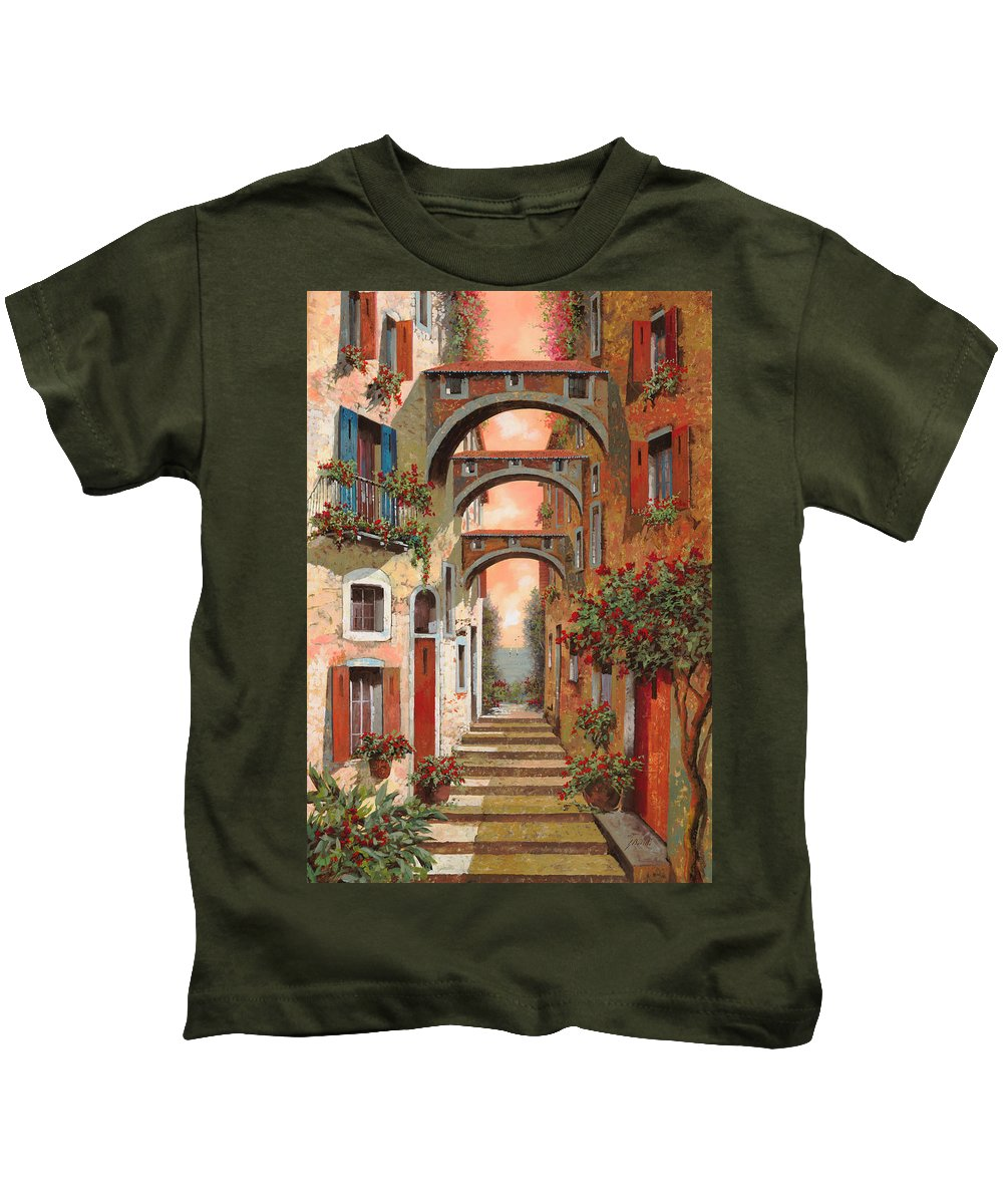 Arches Kids T-Shirt featuring the painting Archetti In Rosso by Guido Borelli