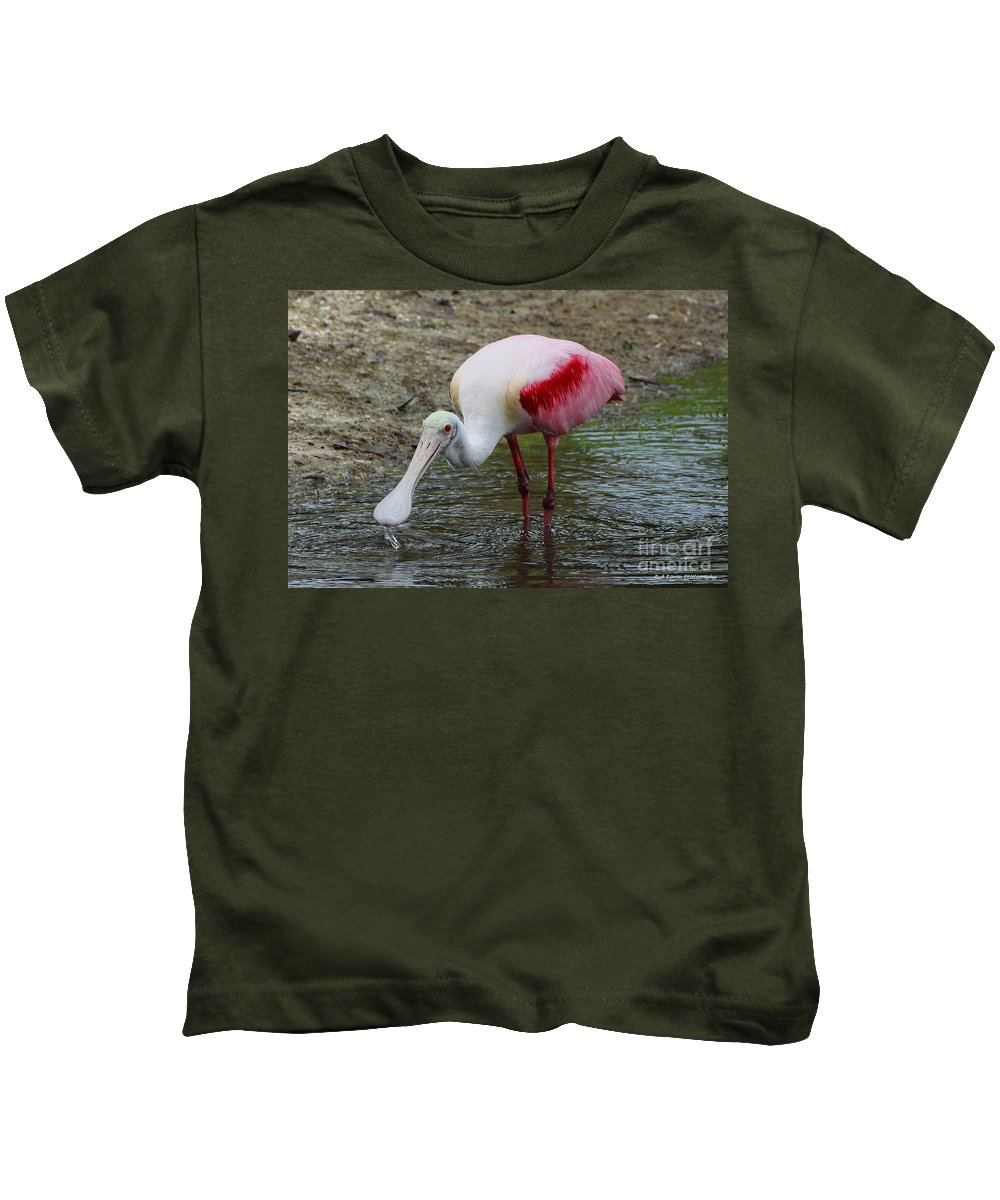 Roseate Spoonbill Kids T-Shirt featuring the photograph Are U Looking At Me by Barbara Bowen