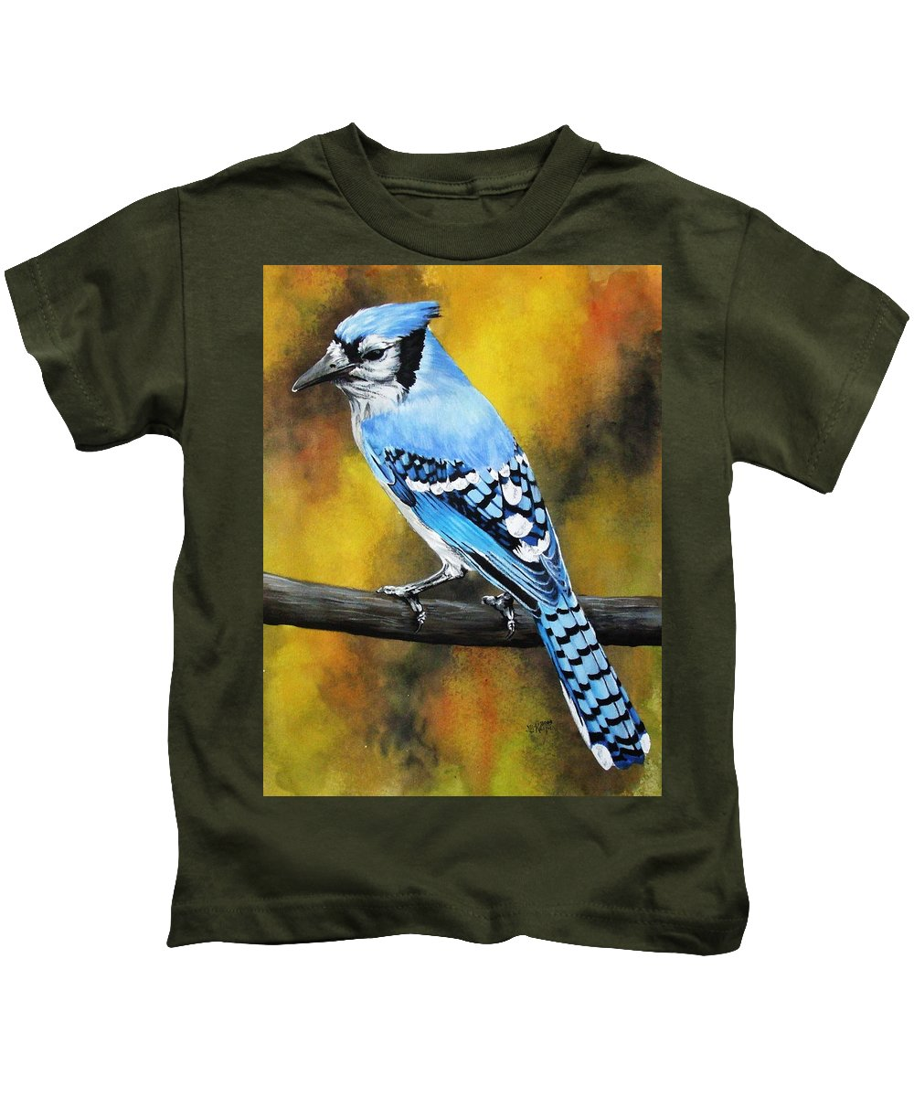 Common Bird Kids T-Shirt featuring the painting Aristocrat by Barbara Keith
