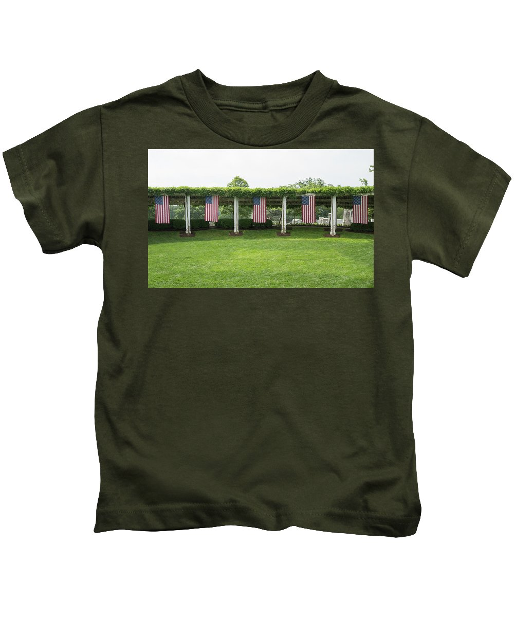 Kids T-Shirt featuring the photograph Arlington Flags by Jared Windler