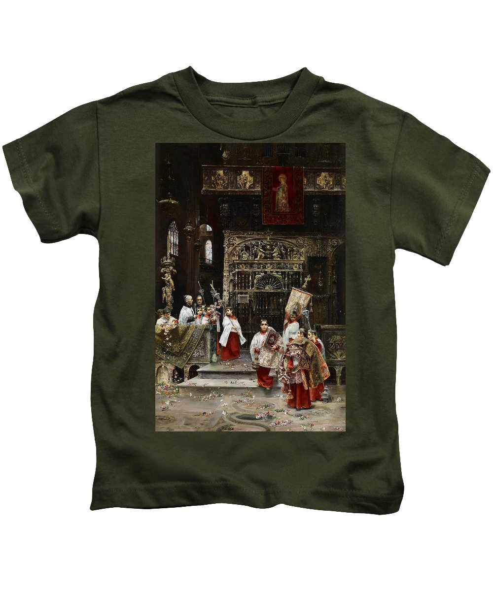 Jos� Gallegos Y Arnosa Choirboys Kids T-Shirt featuring the painting Arnosa Choirboys by MotionAge Designs