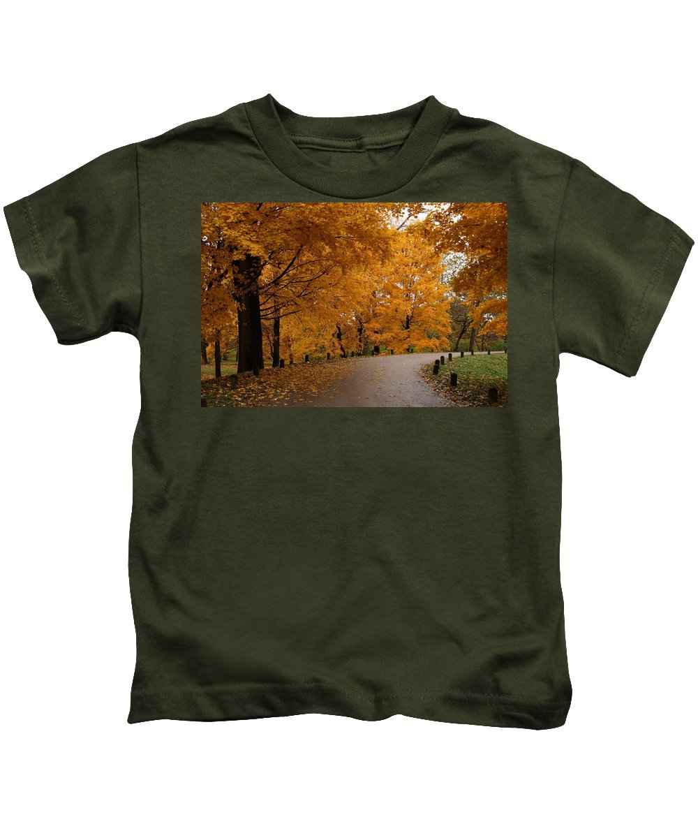 Leaves Kids T-Shirt featuring the photograph Around The Bend by Lyle Hatch