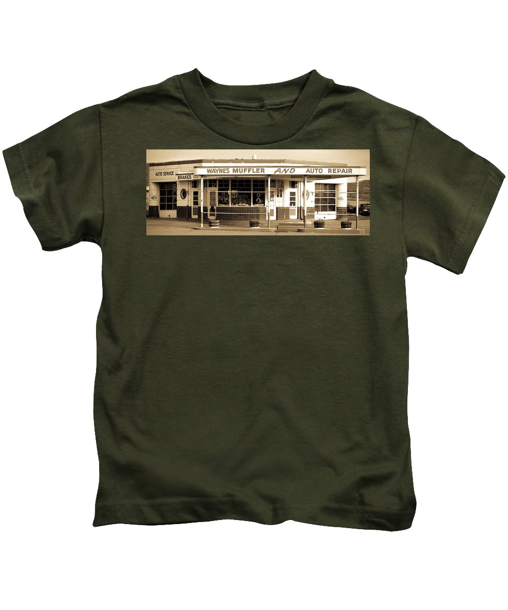 Americana Kids T-Shirt featuring the photograph Art Deco Gas Station Americana by Marilyn Hunt