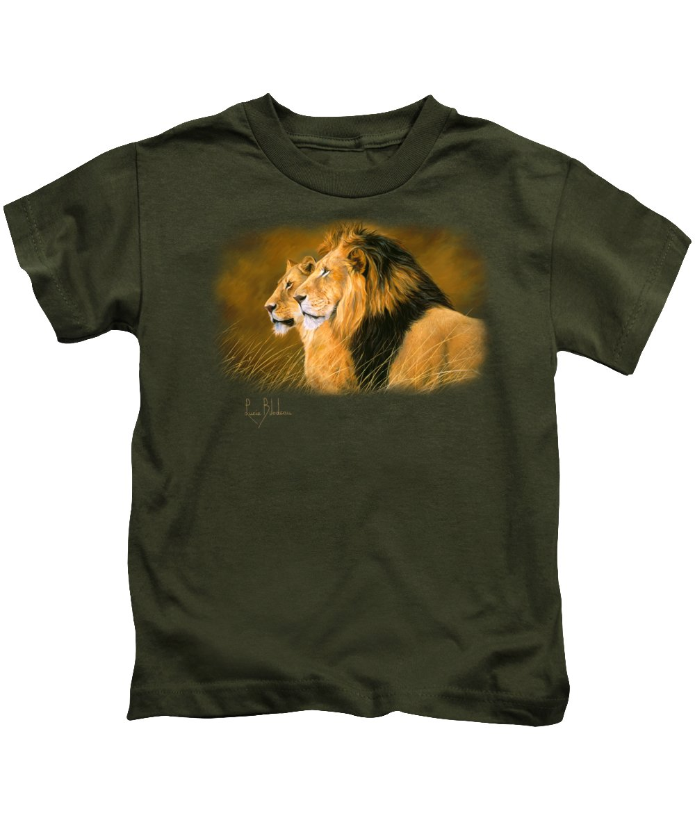 Lion Kids T-Shirt featuring the painting Side By Side by Lucie Bilodeau